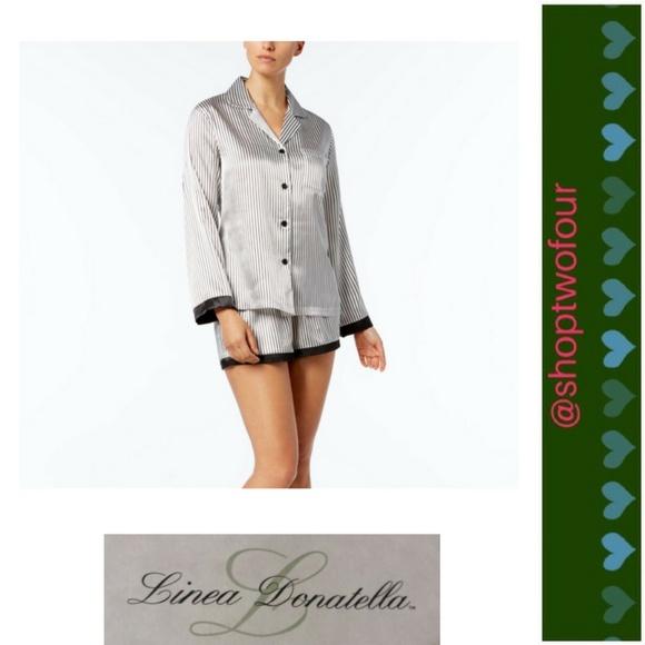 3aa38b7211 Linea Donatella Satin Pajama Set White black